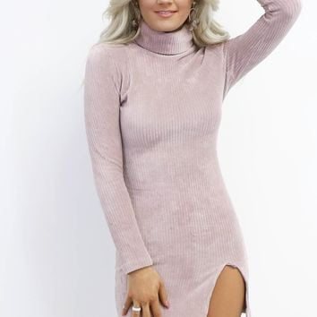 Secret Code Mauve Velvet Turtleneck Dress