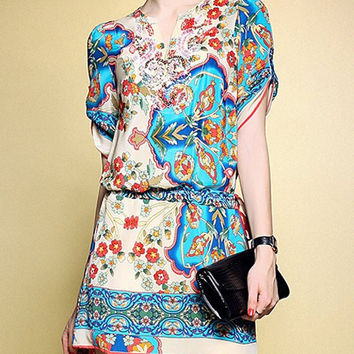 Multicolor Ethnic Floral Print Sequin Dress