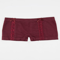 Seamless Lace Side Boyshorts Burgundy  In Sizes