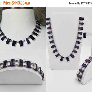 ON SALE Vintage Taxco Sterling Silver and Blue Sodalite Jewelry Set, J. Comes, Necklace, Bracelet & Earrings, Full Parure, So Nice! #b851