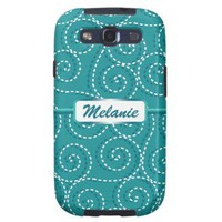 Blue White Swirls Personalized Name Samsung Galaxy SIII Cases from Zazzle.com