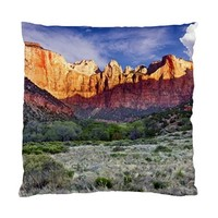 Zion National Park Mountains Throw Pillow Case (One Side)