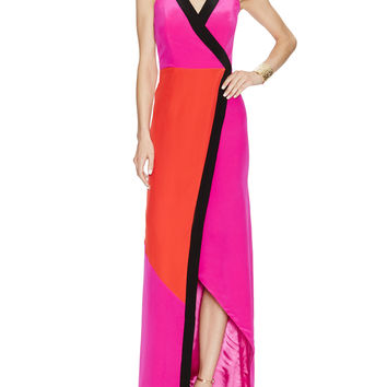 Roma Silk Colorblock Maxi Dress