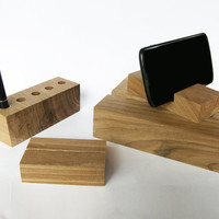 Wooden Desk Organizer 4 in 1 Wood Desk Set. Wood iPad Stand and iPhone stand, Wood Pen Holder, Wood Business Card stand.