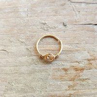 Septum Ring , Nose Ring , Rose Flower Gold Septum piercing , 20 gauge 8mm,10mm inner diameter , Cartilage Ring , Helix Earring.