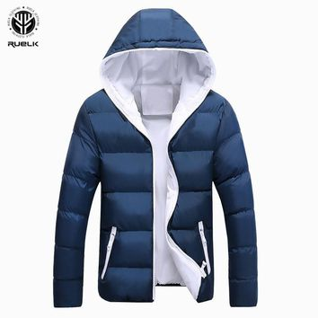 Trendy RUELK New Winter Thick Warm Cotton Male Jacket Men Parka Faux Hood Hooded Casual Wadded Outerwear Fashion Padded Quilted Coat AT_94_13