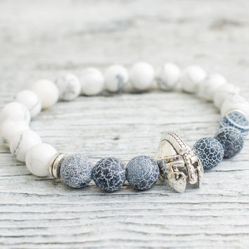 White howlite stone and crackled black agate beaded silver Spartan helmet stretchy bracelet,  mens bracelet, womens bracelet
