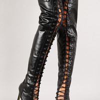 Open Toe Lace Up Thigh High Boot