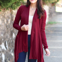 Basic, Ribbed Waterfall Cardigan {Burgundy}