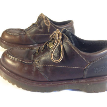 Dr. Martens Air Wair Brown Leather Casual Oxford Boots UK11 US Men 12 Made in England Ankle Support Work Boot 90s Grunge 4 Eye Pulley Laces