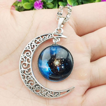 Hot Colorful Galaxy Glass Hollow Moon Shape Pendant Silver Tone Necklace = 1698048132