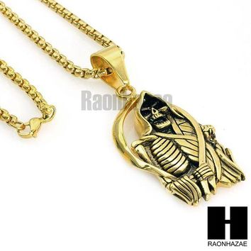 DCCKH7E 316L STAINLESS STEEL SAINT DEATH SANTA MUERTE  GOLD PENDANT W 24' BOX CHAIN NECKLACE 2