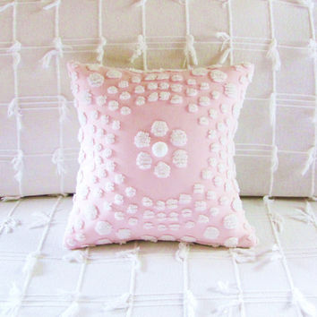 Pink pillow cover PINK TARGET cushion cover 12 X 12 shabby cottage chic