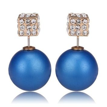 Gum Tee Tribal Earrings - Crystal Dice and Matte Royal Blue