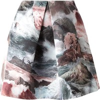 Carven front pleat ocean print skirt