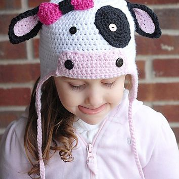 MOO Cow Earflap Hat Crochet Pattern (Permission to sell all finished products)