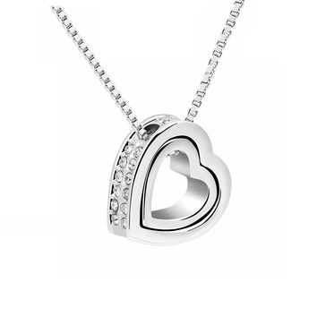 Double Open Heart - Two Pendant I Love You Gift Jewelry Silver Toned Woman Anniversary Necklace 18 inch