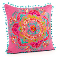 Botany 16x16 Embroidered Pillow, Pink, Decorative Pillows