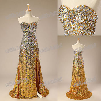 Sequin Long Evening Dress/ Sexy Front Slit Court Train Prom Dress 2015/ Latest Design Dress To Party/ Long Elegant Prom Dresses