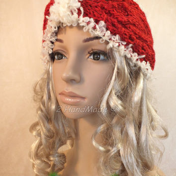 Cable Chunky Knitted Santa Christmas Headband Adult Red Sparkle Shine yarn of White  Infinity Wide Headband Turban Angora Mohair Wool  Xmas