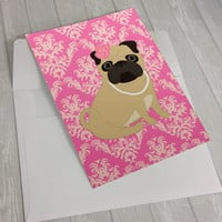 Pug Greeting Card - Fawn Pug Greeting Card - Pug in pearls greeting card - dog lover card - Pug lover greeting card - cute pug greeting card