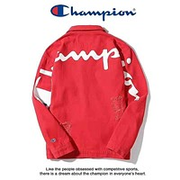 Champion Autumn And Winter High Quality New Fashion Back Letter Print Cowboy Tattered Women Men Long Sleeve Top Jacket Coat Red