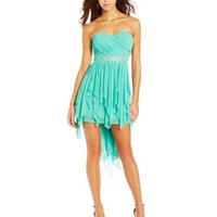 My Michelle Juniors Strapless High/Low Dress with Detailed Waist Band