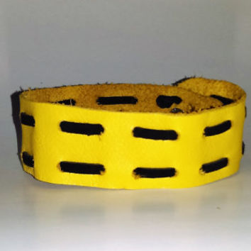 Yellow Leather Bracelet with Black Lacing