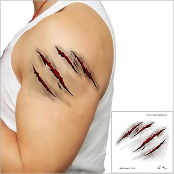 COSTUME TATTOOS ZOMBIE SCARS FAKE BLOOD MAKE UP DECORATION WOUND HORROR.