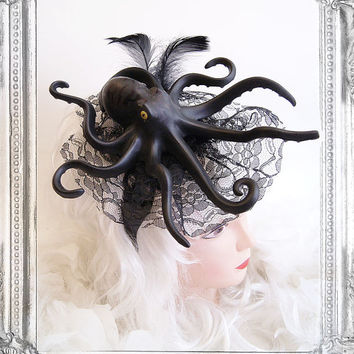 Octopus Fascinator (Goth, Gothic, Steampunk, black, headpiece )