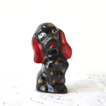 Ceramic Dog Figurine, Vintage Polka Dot Puppy, Children's Room Decor
