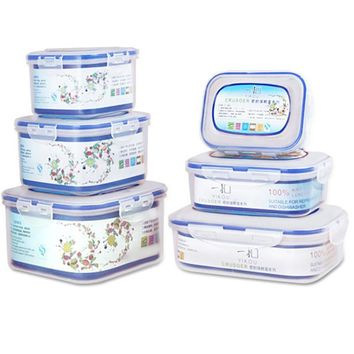 Eco-Friendly 6-in-1 Microwave Lunch Box Bento Super Thick Transparent Food Container Set Free Shipping