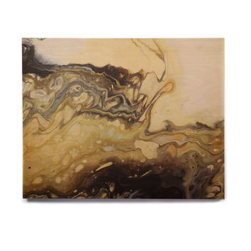 "Carol Schiff ""Tides"" Gray Yellow Abstract Contemporary Painting Mixed Media Birchwood Wall Art"