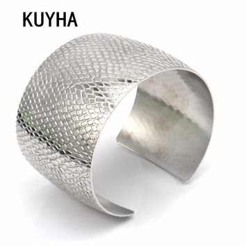 Wide Arm Cuff Bracelets for Women Men Girls Silver Color Female Male Open Bangle Fashion Bijoux Femme
