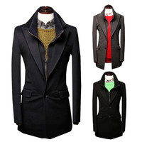 Long Wool Blazer Coat with Zip