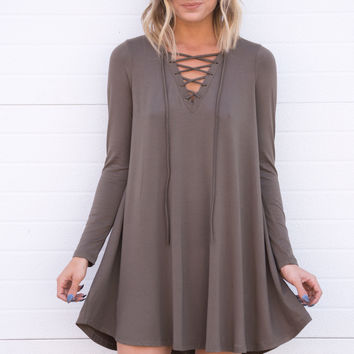 Netta Lace Up Dress - Olive