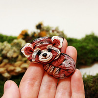 "Free shipping, raccoon , animal brooch , animal pins ,raccoon jewelry, Clay  pin ""raccoon, red panda"""