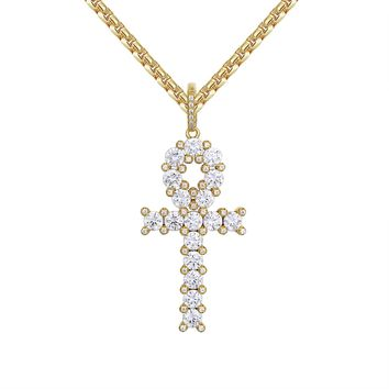 14k Gold Finish Religious Solitaire Ankh Silver Pendant
