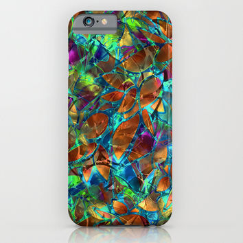Floral Abstract Stained Glass G290 iPhone & iPod Case by MedusArt