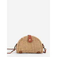 Semicircular Straw Crossbody Bag