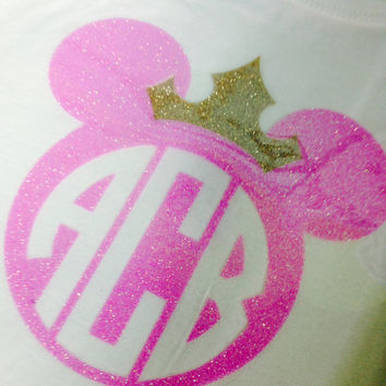 Girls Disney Mickey Minnie Circle Monogram Neon Glitter on a WHITE Tank Top. Toddler and Youth Sizes