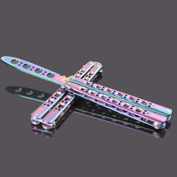 Multicolor titanium Butterfly Knife Training Knife toys Stainless Steel dull Flail knife Adult folding knives no sharp blade