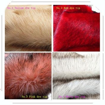 High-grade Dye tip faux fox fur,pile 3.5cm Plush fabrics,Fur collar cloth,10 color available,170cm*50cm/pcs