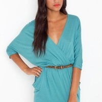 Draped Across Dress - Teal - NASTY GAL