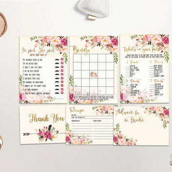 Bridal Shower Games Printable Bridal Games Bundle Floral Bridal Games Pack Boho Chic Bridal Shower Game Set Bridal Party Games Digital File