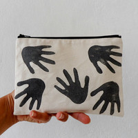 Zipper bag, Hand Printed HANDS in black Zip pouch, hand stamped women fashion zipper bag - 107