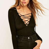 Project Social T Plunging Lace-Up Black Top - Urban Outfitters