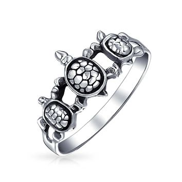 Three Best Friends Family Turtle Ring Band 925 Sterling Silver