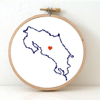 COSTA RICA map modern cross stitch pattern. Costa Rica art. San Jose map. Gift for latino. Home is where the heart is