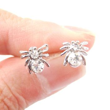 Tiny Tarantula Spider Shaped Stud Earrings in Silver with Rhinestones